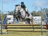 Alexandra McLaughlin riding Jimmy McElroy from Nyngan PC at the 2014 State Showjumping