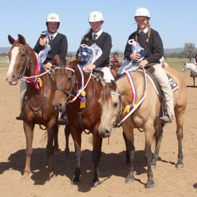 The Champion Team Penning Junior Team was awarded to the Gloucester Pony Club Team from Zone 25 with riders (L-R) Chloe Shultz, Amy Shultz and Charlotte Maslen who received a Champion Sash, Trophy and Rug thanks to Horseland. Photo: Paul Smith Photog